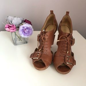 Coach Cognac Tie-Up Heels
